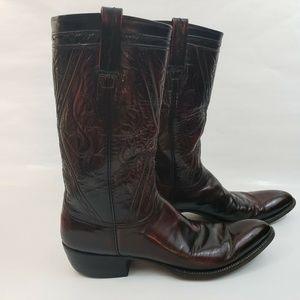 Lucchese Mens 13 Burgundy Black Cowboy Boots